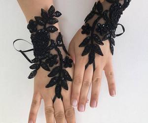 black gloves, etsy, and fingerless gloves image