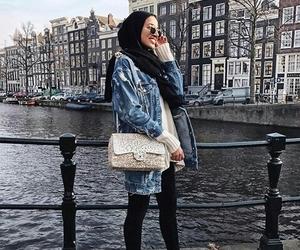 bag, fashion, and hijab image