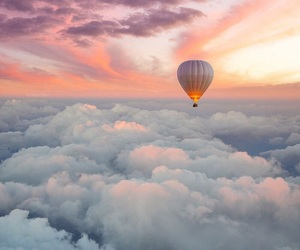 clouds, sunset, and balloons image