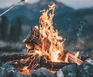 fire, autumn, and marshmallow image