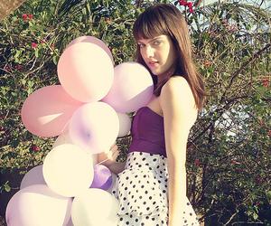 ballon, girl, and polka dot image