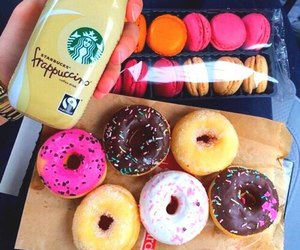 chocolate, donuts, and macarons image