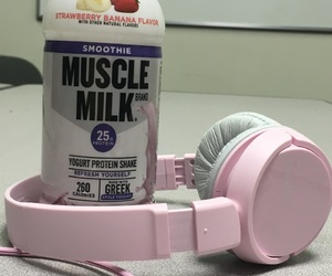 headphones, pastel, and pink headphones image