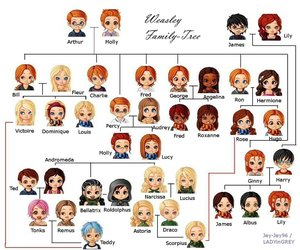 harry potter, family tree, and weasley image