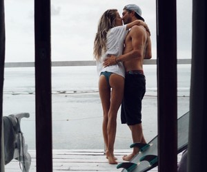 couple, gorgeous, and surfboard image