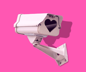 graphic design, pink, and surveillance cameras image
