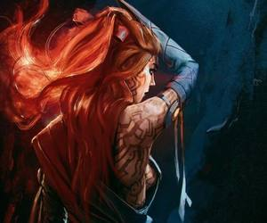 fire hair, redhead tribal art, and norse celtic image