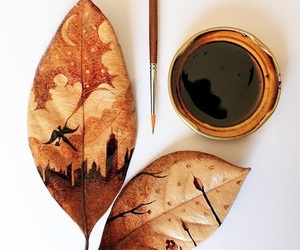 art, leaves, and painting image
