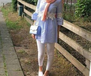 fall, ootd, and hijab image