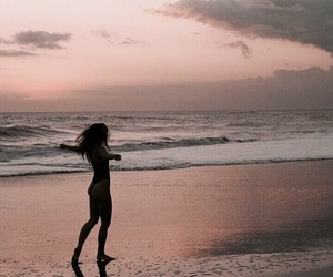 girl, beach, and clouds image
