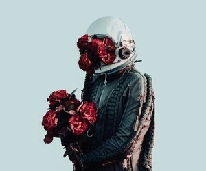 astronaut, flowers, and roses image