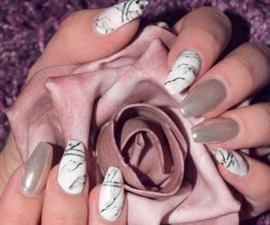 blackandwhite, nails, and purple image