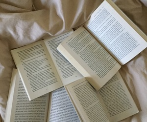 art, bedsheets, and books image