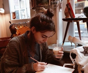 girl, coffee, and study image