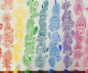 colors, zentangle art, and doodles image