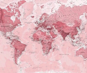 pink, world, and map image