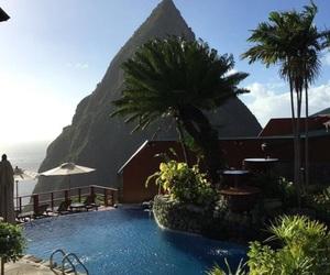beach, jungle, and mountain image