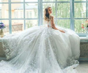bridal gown, embroidery, and bridal dress image