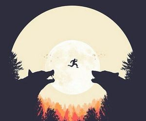 wallpaper, wolf, and moon image