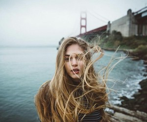 blonde, wind, and girl image