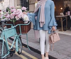 hijab, fashion, and flowers image