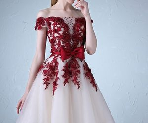 a-line, dress, and off the shoulder image