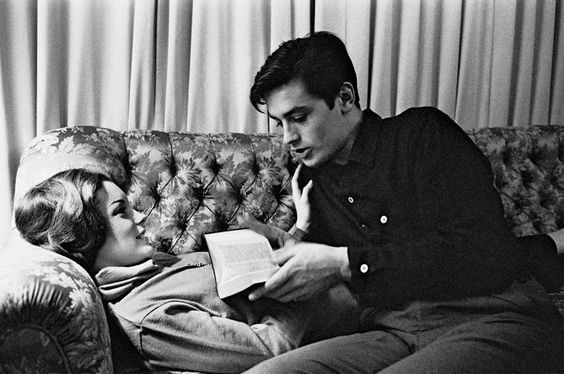 couple, black and white, and Alain Delon image