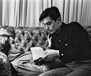 couple, Alain Delon, and black and white image