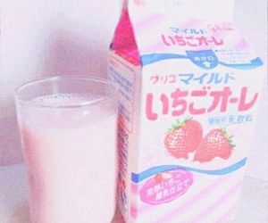 pink, milk, and strawberry image