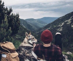 dog, nature, and boy image
