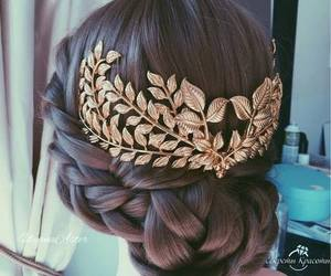 hair, hairstyle, and gold image