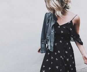 black, denim jacket, and dress image