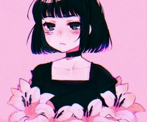 pink, anime, and flowers image