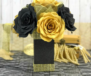 black and gold, christmas decor, and gold home decor image