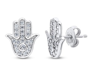 sterling silver, hamsa hand, and stud earrings image