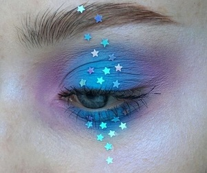 blue, makeup, and stars image