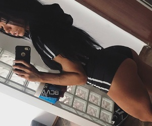ass, blackhair, and iphone image