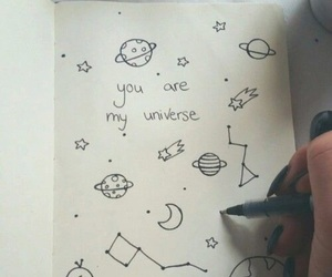 drawing, notebook, and universe image