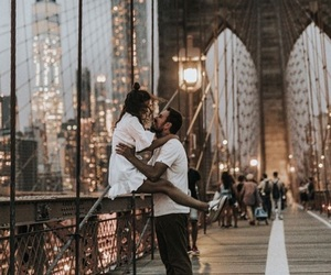 brooklyn bridge, couple, and ny image