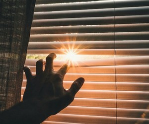 window, sun, and hand image