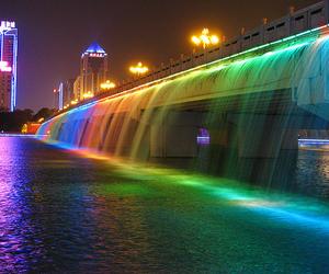 water, rainbow, and light image