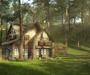 cabane, chalet, and forest image