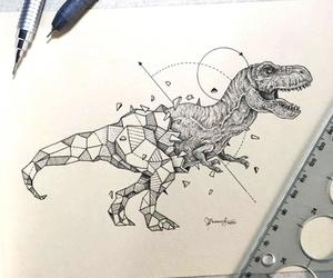 drawing, art, and dinosaur image