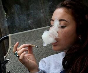 smoke, girl, and smoking image