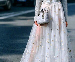 bag, long skirt, and skirt image