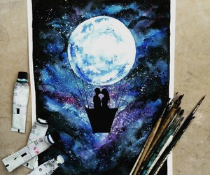 moon, art, and paint image