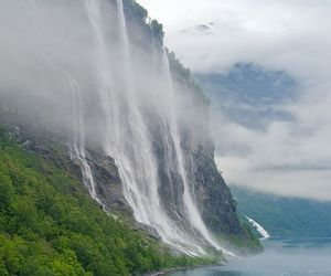 nature, waterfall, and norway image