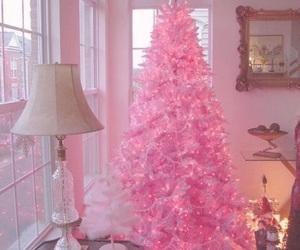 pink, christmas, and tree image