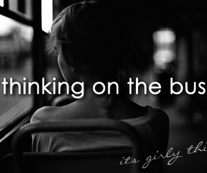 girl, bus, and thinking image