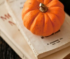 book, pumpkin, and autumn image